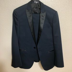 Express Men's Navy Tuxedo suit jacket and pants